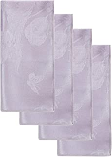 Spring Splendor Easter Tablecloth Lilac Purple Damask Pastel Floral Polyester Fabric Dinner Napkins (Set of 4 Napkins)