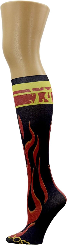 HOCSOCX Boys/Mens Sports Performance UNDER Socks (LARGE/ XLARGE, FLAMES)