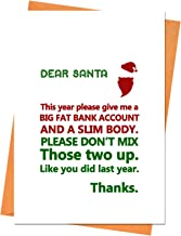 Funny Christmas Card, Funny Holiday Card, Xmas Card, Dear Santa, This Year Please Give Me Greeting Card