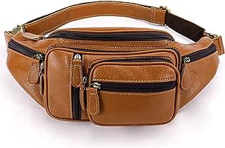 Genuine Leather Large Fanny Pack Waterproof Hip Belt Bag Waist Bag Crossbody Sling Backpack Brown