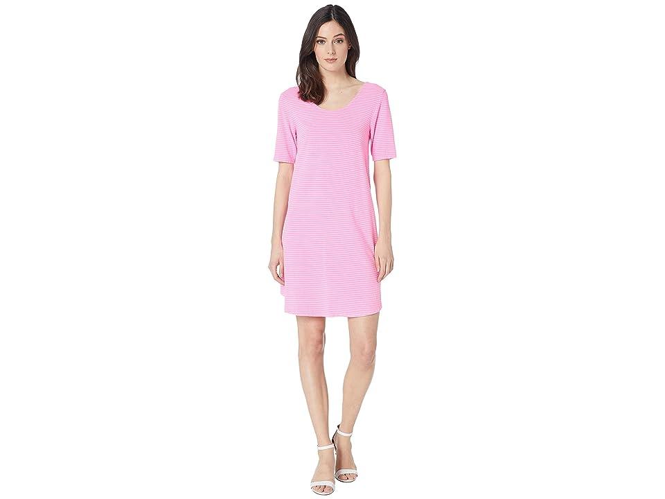 Fresh Produce Pinstripe Mika Dress (Flamingo Pink) Women
