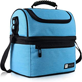 Mila Yano Lunch box Insulated Double deck Cooler tote Bag for adult Thermally upgraded for picnic, travel, office Leak pro...