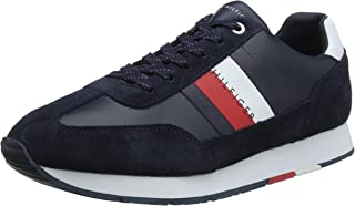 TOMMY HILFIGER Men's Suede Trim Flag Runner Trainers Navy
