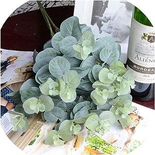 Rchhy 16 Heads Eucalyptus Leaves Silk Artificial Flowers Arrangment Tree Plant Bouquet Faux Foliage Wreath Home DIY Decoration A7230,Green