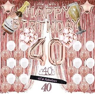 40th Birthday Decorations, 40 Birthday Party Supplies for Women Include Happy Birthday Balloons,Birthday Tiara & sash, Cake Topper