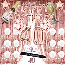 40th Birthday Decorations, 40 Birthday Party Supplies for Women Include Happy Birthday Balloons,Birthday Tiara & sash, Cake Topper