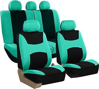 FH Group FB030115 Light & Breezy Flat Cloth Full Set Car Seat Covers Set, Airbag & Split Ready w. Gift, Mint/Black- Fit Mo...