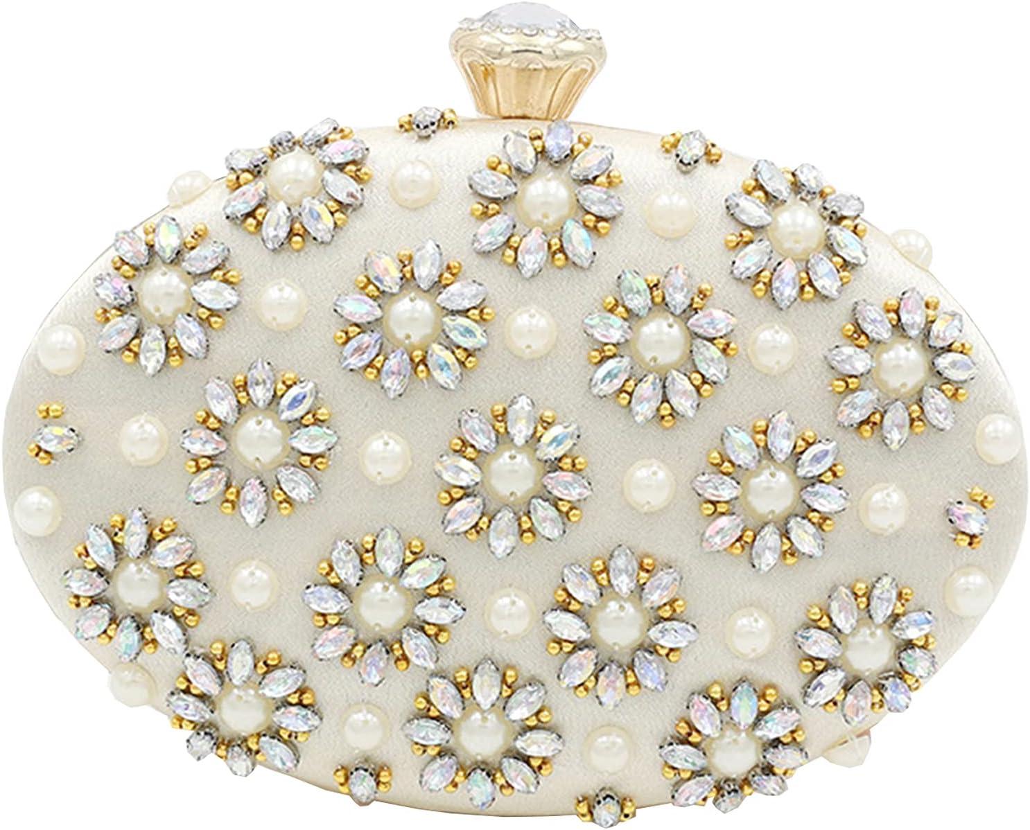YANGB Beige Diamond Bargain Max 52% OFF Round Clutch Pearl Purse Bag Small Bod Cross