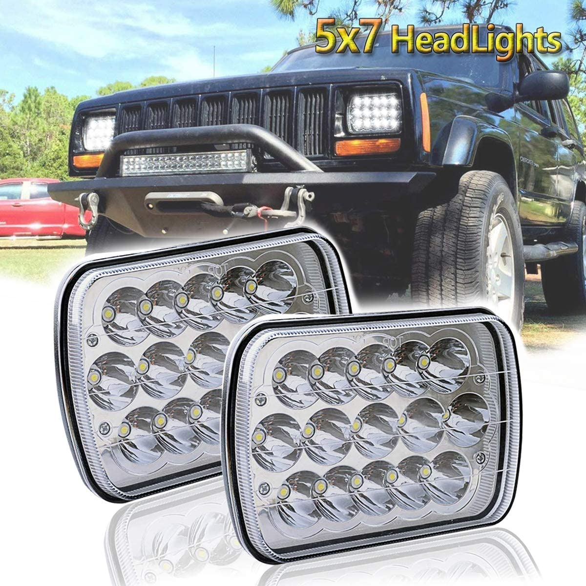 LEDMIRCY 4x6 Inch LED Headlights Dot Approved High Low Sealed Beam Rectangular LED Headlight 4PCS 45W LED Headlamp Replace with H4651 H4652 H4656 H4666 H6545 H4668 H4642