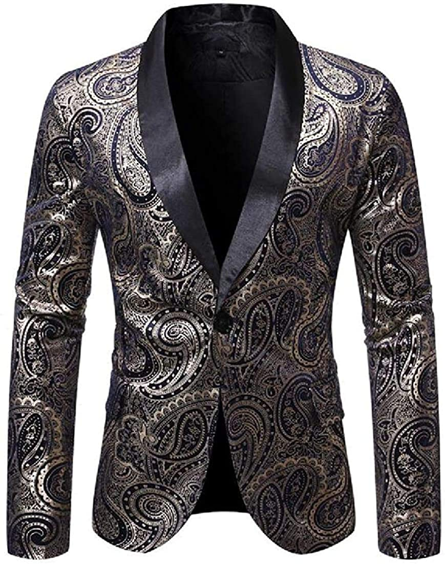 Men Paisley 1 year warranty Max 90% OFF Print Slim Fit Jacket Blazer Coat 1 Button