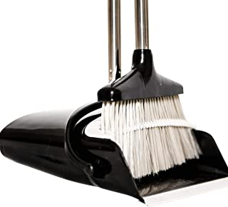 Birchery Quick and Easy Broom and Dustpan Set - No More Bending Down -Space Saving - Extendable and Adjustable Pole - Ideal for Hair Pets Kitchen and Apartment