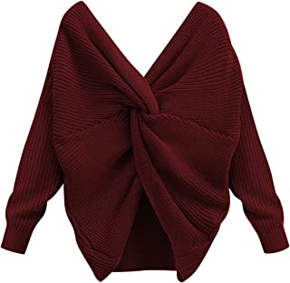 Women's Sweater Open Back Off The Shoulder Sexy Tops Fall V Neck Criss Cross