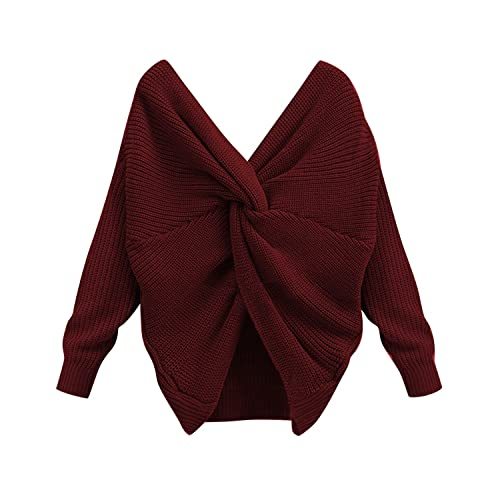 acbec0e6f91 BONESUN Women s Knitted Sweaters Long Sleeve Sexy V-Neck Cross Pullover  Sweaters