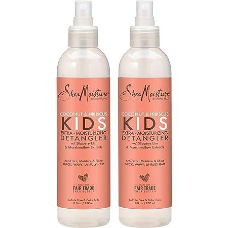 Shea Moisture Coconut & Hibiscus KIDS Extra Moisturizing Detangler, Slippery Elm and Marshmallow Extracts, Anti-Frizz, Moisture & Shine 8 oz, Pack of 2