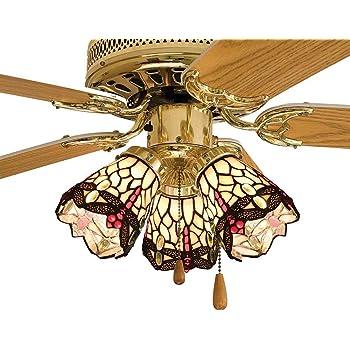 Meyda Home Indoor Decorative 4 W Tiffany Hanging Head Dragonfly Fan Light Shade Beige Flame Ceiling Fan Light Kits Amazon Com