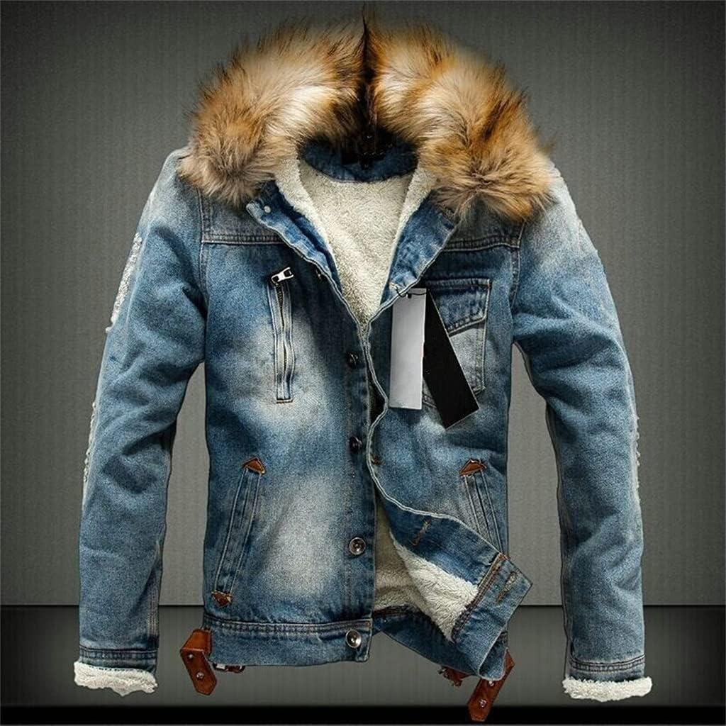 ZLDGYG Men Elegant Light Blue Winter Jean Warm Denim Max 84% OFF Outerwear C Jackets