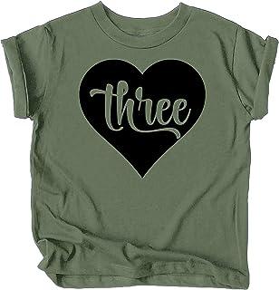Three in Heart 3rd Birthday Girls Shirt for Toddler Girls Third Birthday Outfit