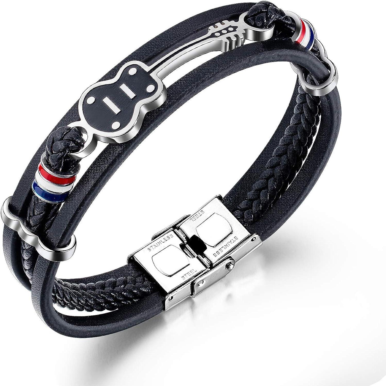 TEMICO Mens Womens Black Under blast sales Leather Luxury Cowhi Cuff Bracelet Multi-Layer