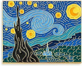 Van Gogh Starry Night Painting Enamel Lapel Pin,Multi,1.75 inch