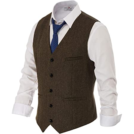 PAUL JONES Men's British Herringbone Tweed Vest Premium Wool Waistcoat, Coffee, S