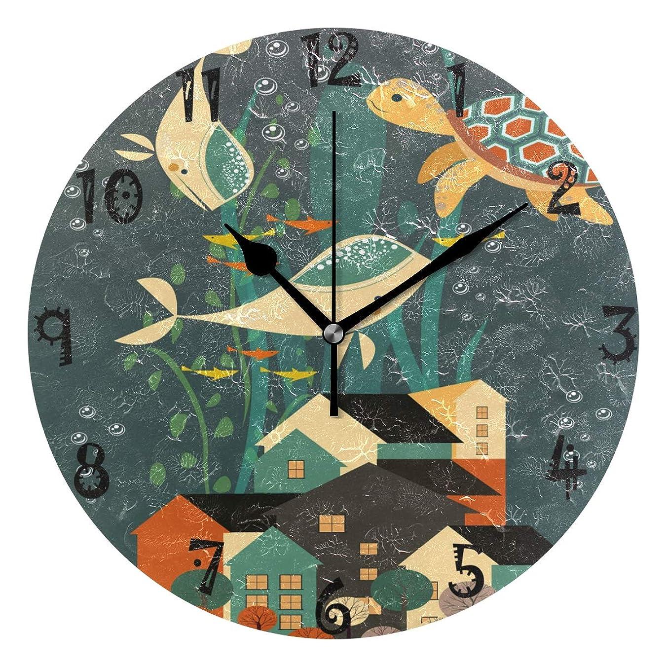 迷路公然と誰かアートアニマルサメタートルラウンド ウォール クロック 円形 時計プレート サイレント ノンティック クロック キッチン ホーム デコレーション用