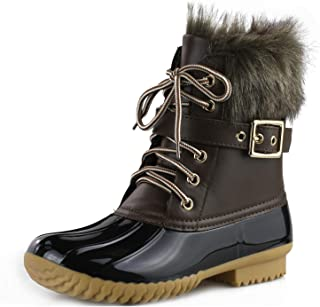 Women's Waterproof Rain Booties Duck Padded Mud Rubber Snow Faux Fur Lace Up Ankle Boots