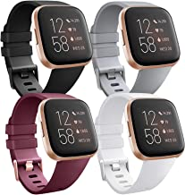 [4 Pack] Bands Compatible with Fitbit Versa 2, Fitbit Versa, Versa Lite/SE, Assorted Soft Silicone Patterned Wristbands, B...