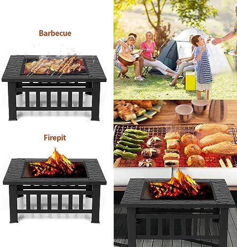 IKAYAA Brasero pour Jardin Terrasses BBQ Brasero Ménager Barbecue 81 * 81 * 36cm avec Couvercle Firepan et Barbecue +...