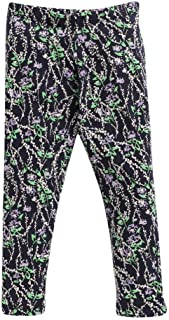 Hopscotch Crayon Flakes Baby Girls Cotton, Lycra Floral Printed Leggings in Purple Color