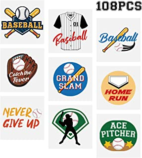 Baseball Temporary Tattoos Stickers– Kids Party Favors School Carnival Prize Sports Gifts Supplies 108Ct