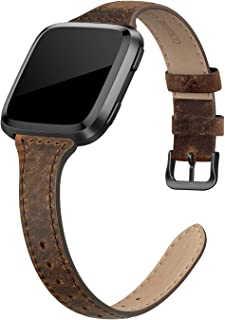 Leather Bands Compatible with Fitbit Versa 2 / Fitbit Versa Lite & SE/Fitbit Versa, Slim Thin Genuine Leather Replacement Strap for Versa Women (5.5