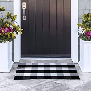 Delxo Cotton Buffalo Plaid Rug,24x36 Hand-Woven Indoor or Outdoor Rugs for Layered Door Mats Washable Carpet for Front Porch/Kitchen/Farmhouse/Entryway (Black&White)