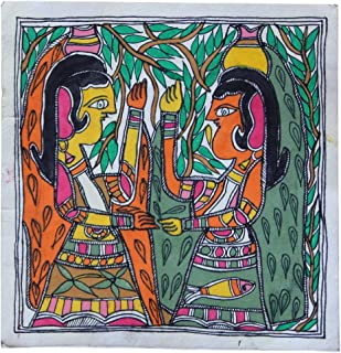 Framed Handpainted Womens Carrying Pot On Head Madhubani Painting Paper Depicting Stories from India Folklore Made by Artist of Bihar with History Which Dates Back from The Days of Ramayana