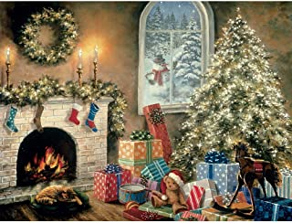 Bits and Pieces - 300 Large Piece Glow in The Dark Puzzle for Adults - Not a Creature was Stiring, Christmas Eve, Holiday - by Artist Nicky Boehme - 300 pc Jigsaw