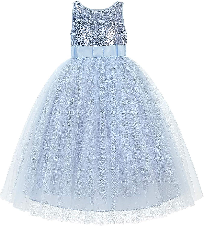 Sequin V-Back Junior Flower Girl Dress Special Occasions Mini Bridesmaid LG1