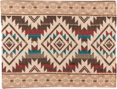 Collections Etc Southwest Geometric Aztec Pillow Sham with Tribal Pattern Border - Decorative Bedroom Accent