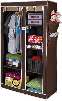 FOLDDON Non Woven Foldable Storage Double Door Design Wardrobe, Cupboard Closet with 6 Racks, 99.1 x 44.4 x 165.1cm (Beige and Brown, FD122BG)
