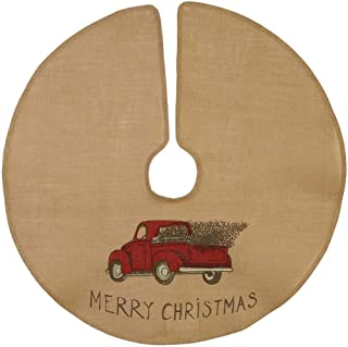 The Country House Christmas Red Truck Burlap Tree Skirt (36