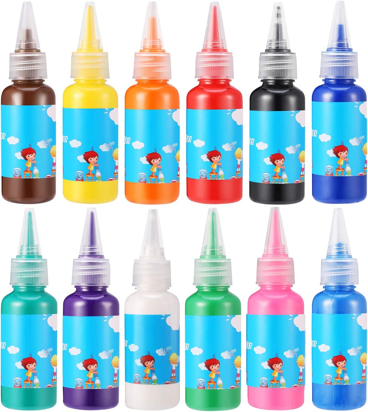 Homkare half Finger Paint 12 Colors Washable Safety and trust Paints Toxic Non