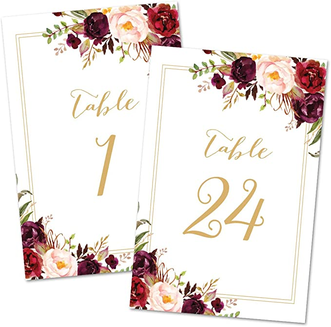 GL1 Greenery Wedding Number Cards Winter Weding Decor Double Sided