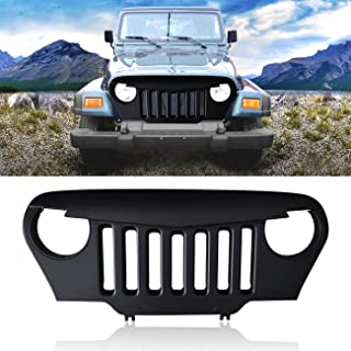 DIYTUNINGS Front Matte Black Angry Bird Grille Grill for 1997-2006 Jeep Wrangler TJ