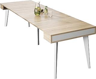 SelectionHome - Mesa de Comedor Salon Consola Extensible Modelo Nordic Acabado en Color Blanco Mate y Roble Cepillado...