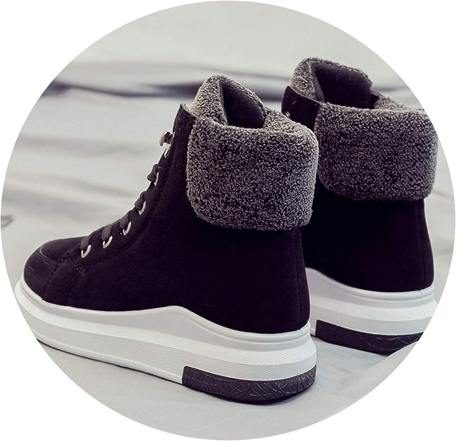 Women Ankle Boots Autumn Winter Short Pkush Keep Warm Boots shoes Woman Lace Up Round Woe for Women shoes