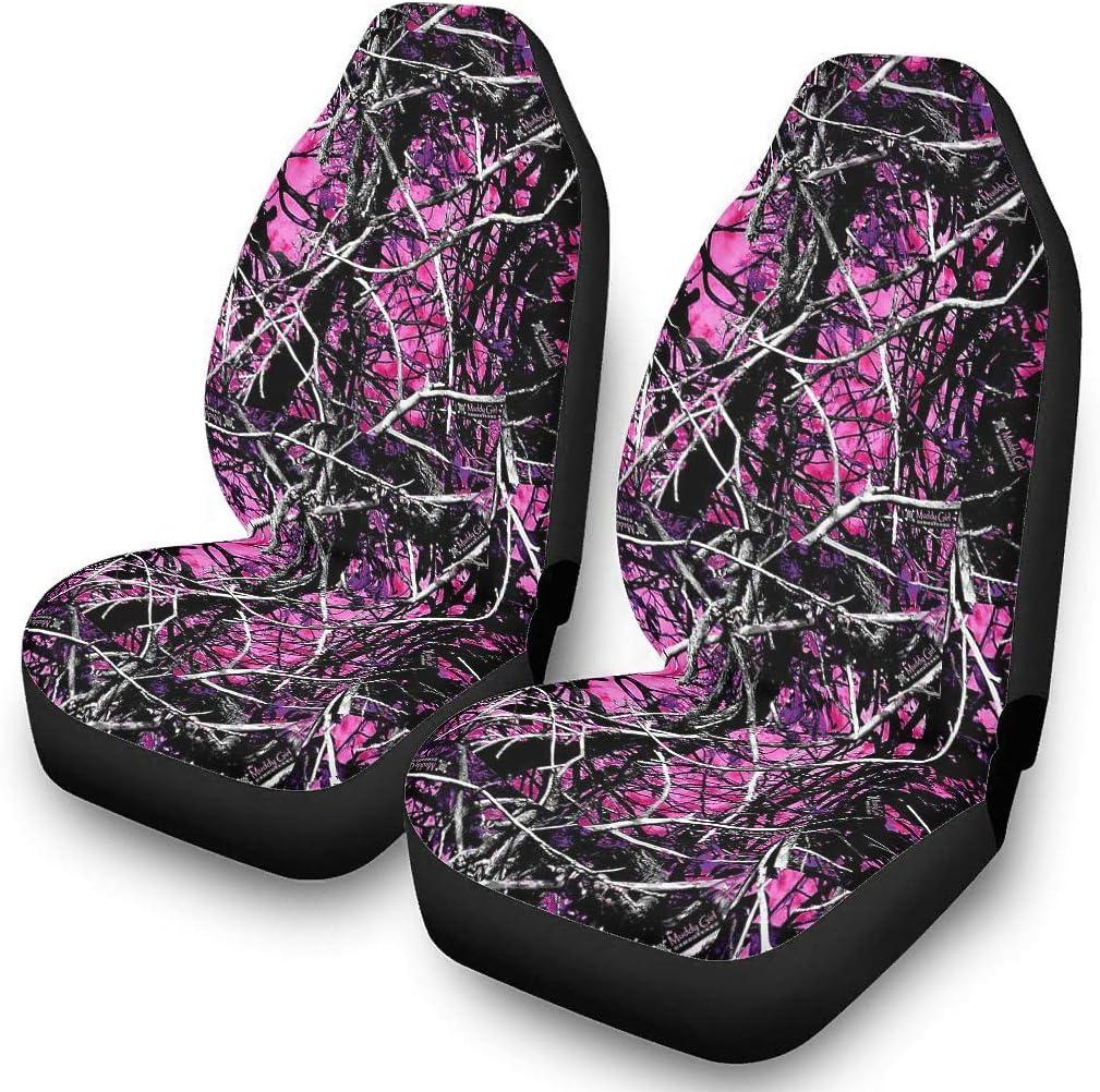 Zerosubsidi 2PC Reservation Car Seat Covers Wildfire Muddy Orange Girl Max 84% OFF Camo
