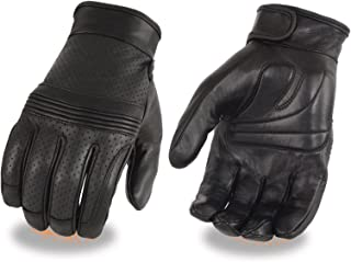 Milwaukee Men's Motorcycle Perforated Flex Knuckle blk Touch screen Finger Leather Gloves (XL- Regular)