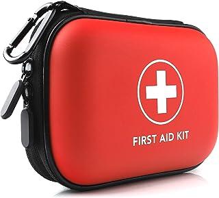 مینی کیت کمکهای اولیه ، 100 تکه محافظ سخت مقاوم در برابر آب - مناسب برای سفر ، در فضای باز ، خانه ، دفتر ، کمپینگ ، پیاده روی ، اتومبیل (قرمز)