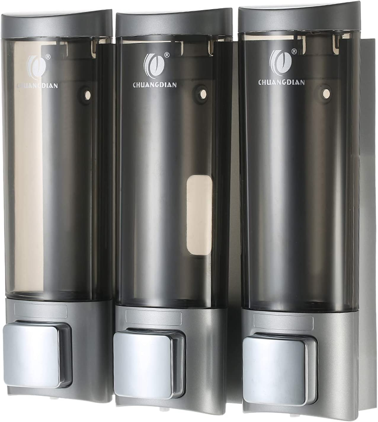 Galapare Dispensadores de jabón, manuales Montado en la Pared Champú de Tres cámaras Caja Champú Gel de Ducha líquido Cuarto de Descanso Baño de Inodoro Dispensador y Soporte 200ml x 3