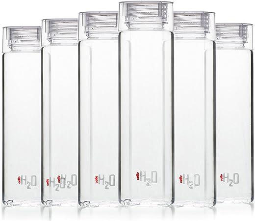 Cello H2O Premium Edition Plastic Bottle, 1 Litre, Set of 6, Clear
