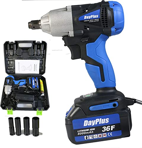 """2021 18V Cordless Impact Wrench with 1/2"""" Chuck, 420Nm Max Torque with outlet online sale 4Pcs Driver Impact Sockets 14mm 17mm 19mm 22mm and Tool Bag 6000mAH Li-ion Battery Fast sale Charger Variable Speed online"""