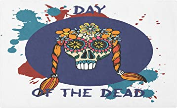 Ambesonne Day of The Dead Doormat, Mexican Funny Splashes and Long Haired Sugar Skull Cartoonish Art, Decorative Polyester Floor Mat with Non-Skid Backing, 30